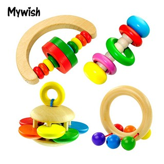 Cute Kids Colorful Wooden Rattle Toy Hand Musical Education Toys