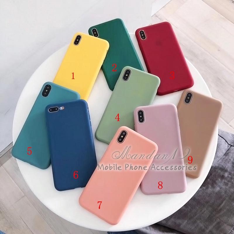 Ốp điện thoại màu trơn mềm cho Samsung A7 2018 J4 Plus J4+ A20 A30 A50