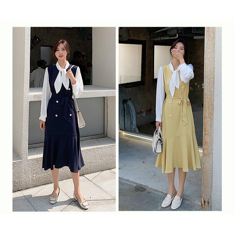 6501383531 - đầm nữ dài tay cổ tròn xếp ly thời trang