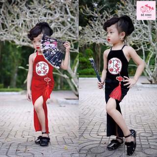 Sườn xám cách tân bé gái [Hot tết 2021]  chất liệu nhung cao cấp đầm body bé gái đầm tết rẻ đẹp