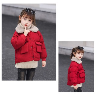 Áo khoác phao siêu nhẹ phối cổ lông cừu Quảng Châu bé trai, bé gái