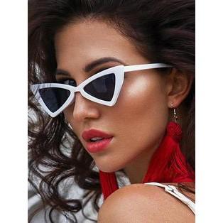 [Hàng có sẵn] Kính mát thời trang tam giác mắt mèo (viền trắng - tròng đen)
