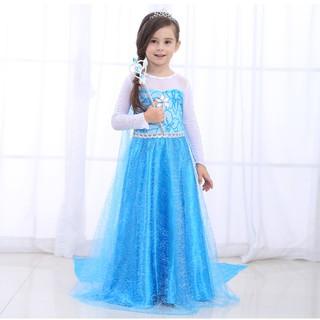 Bộ váy ElSA Trang phục Halloween cho bé 3-6 tuôỉ size 100 (13-15kg) + Tóc,Gậy, Bờm