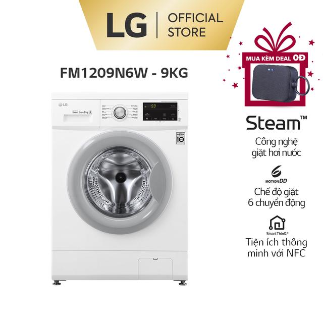 Máy giặt lồng ngang LG Inverter 9kg (Trắng)-FM1209N6W – Miễn phí lắp đặt