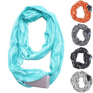 Fashion Men Women Scarf with Zipper Pocket Winter Warm Collar Scarf Loop