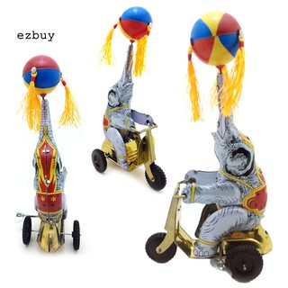[EZBY]Vintage Iron Cycling Elephant Wind up Clockwork Table Ornament Kids Toy Gift
