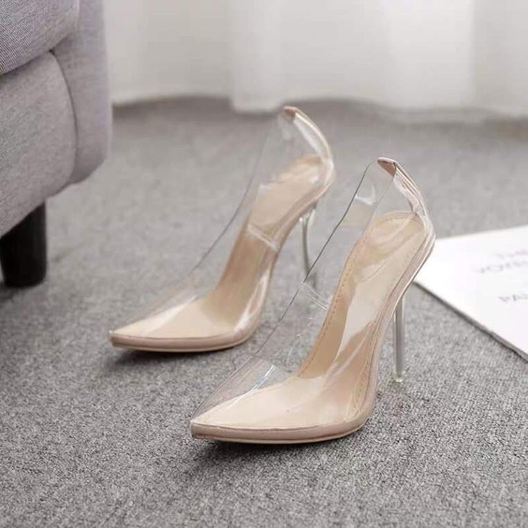 Giày cao gót trong suốt - giày cao gót meka gót trong sang chảnh