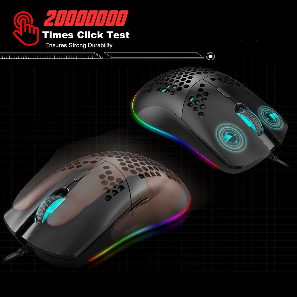 Chuột Gaming Fs + J900 Tổ Ong Có Dây 6400dpi Cho Pc / Laptop