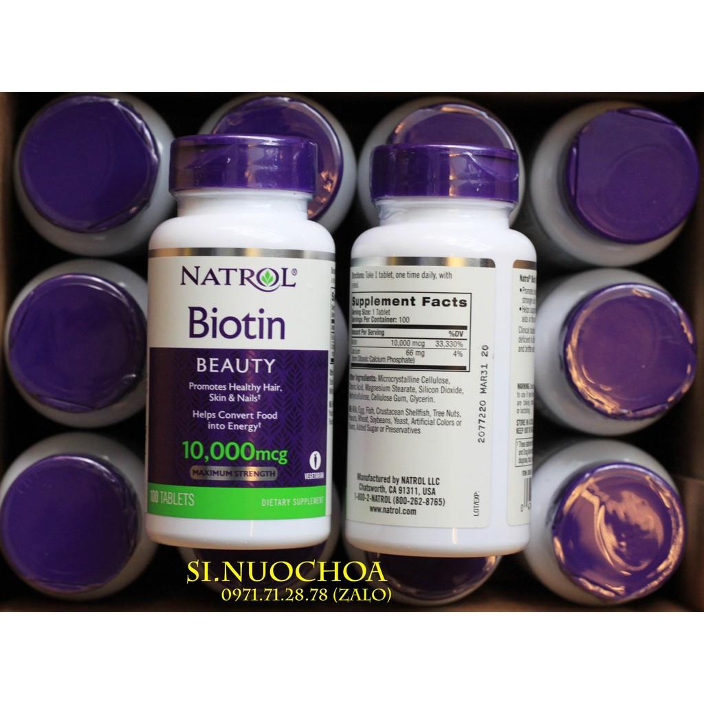 Viên Uống Đẹp Da Natrol Biotin Beauty 10000mcg 100 viên USA (Date 03/2020)