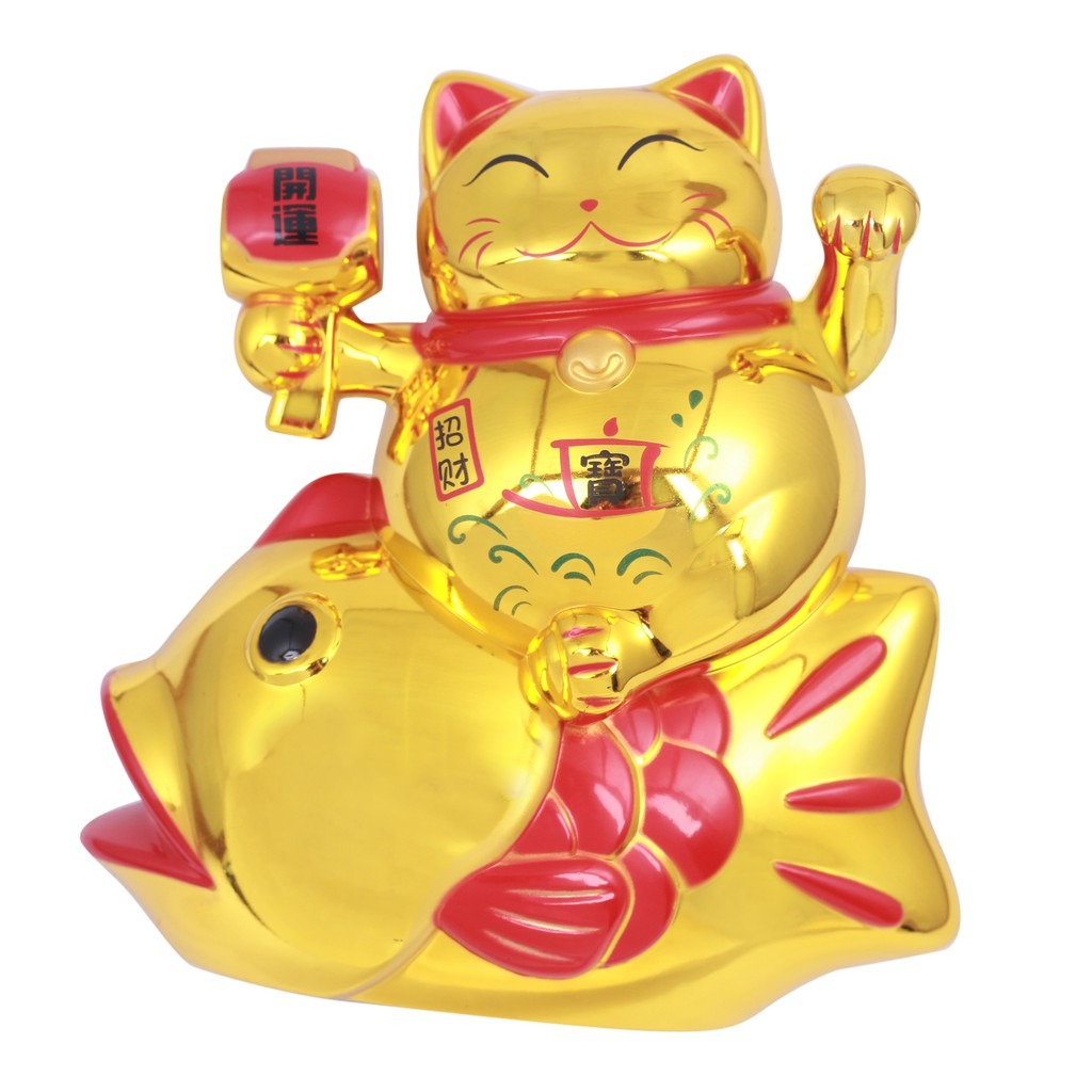 Tượng Mèo Vẫy Tay Cưỡi Cá Chép (xài pin)