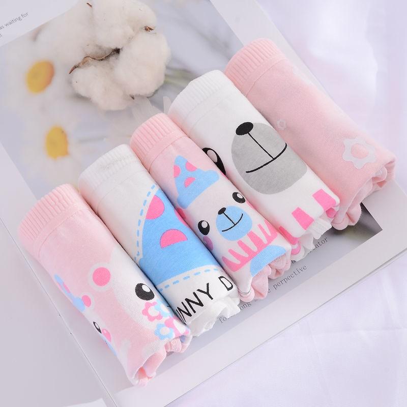 Bộ 5 Quần Lót Cotton In Hình Thỏ Hoạt Hình Đáng Yêu Cho Bé Gái