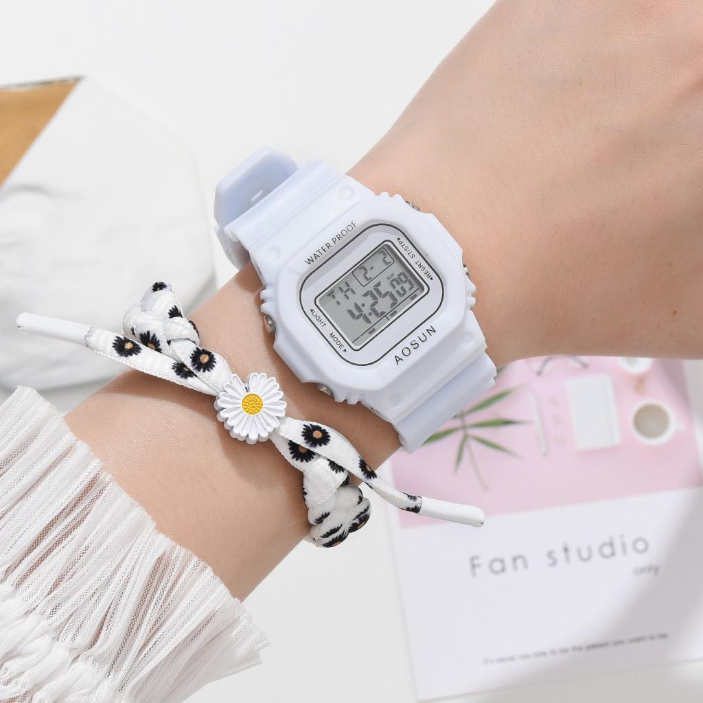 Đồng hồ thể thao nam nữ SPPORS điện tử, dây cao su Hoa Cúc cực hot, full chức năng DH106