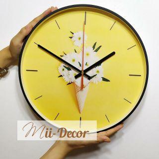 (Video & Ảnh thực tế) Đồng hồ Treo Tường (Màu vàng - hoặc Hồng) có Kính 3D hình Kem Hoa cúc trắng - DH088A10