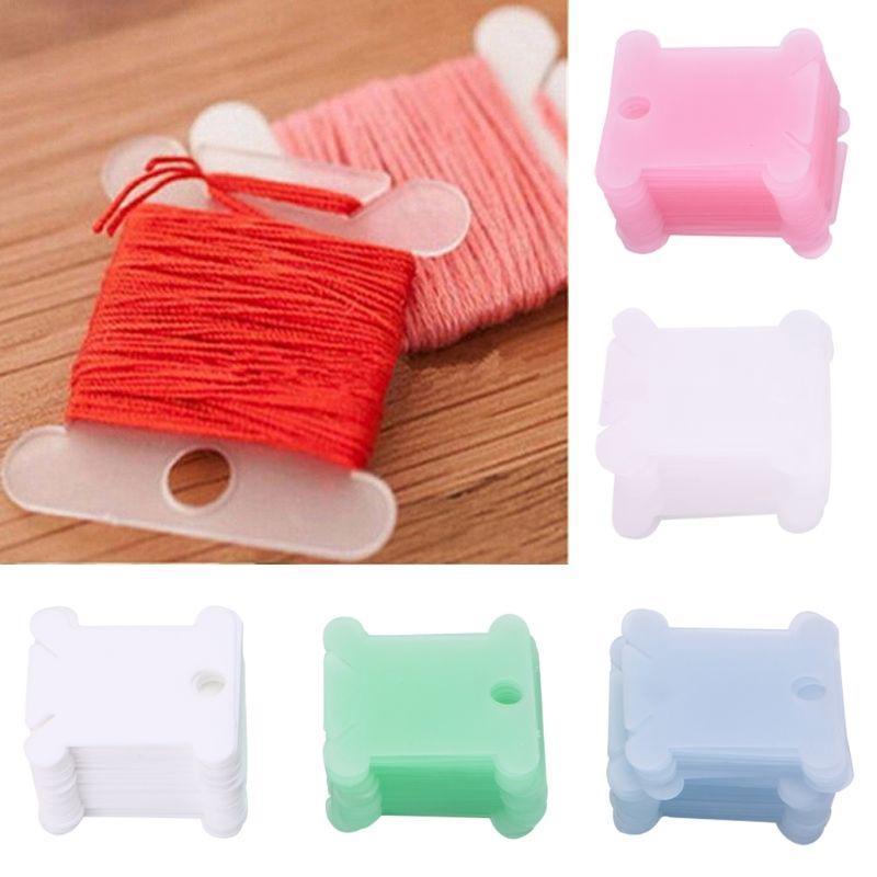 100x Plastic Thread Bobbins For Cross Stitch Embroidery Floss Craft Organizer