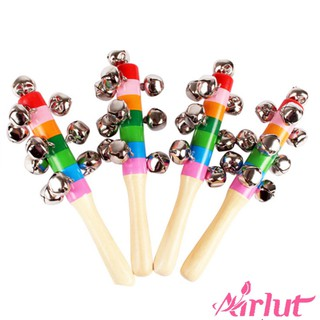Baby Cute Jingle Rattles Toys Rainbow Handle Wooden Bell Stick Shake Toys