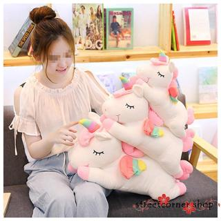 ✿Sc♚Kids Stuffed Animal Toy, Cute Rainbow Horse Plush Toy Pillow Home Decor Gift for Girls