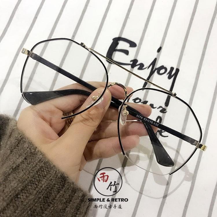 Mắt kính gọng kim loại to kiểu retro xinh xắn cho nữ