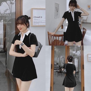 Áo polo đen cổ trắng