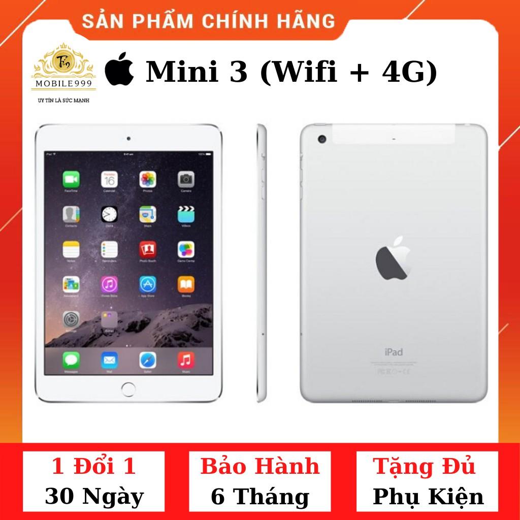 iPad Mini 3 (Wifi + 4G)16G /64G /128G Chính Hãng Zin Đẹp 99% - Màn Retina siêu đẹp - Máy nhỏ gọn -Có vân tay - MOBILE999