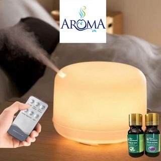 Máy Xông tinh dầu trụ tròn cao cấp có đèn 7 màu thay đèn ngủ, khuếch tán hương thơm khử mùi hôi tạo ẩm không khí