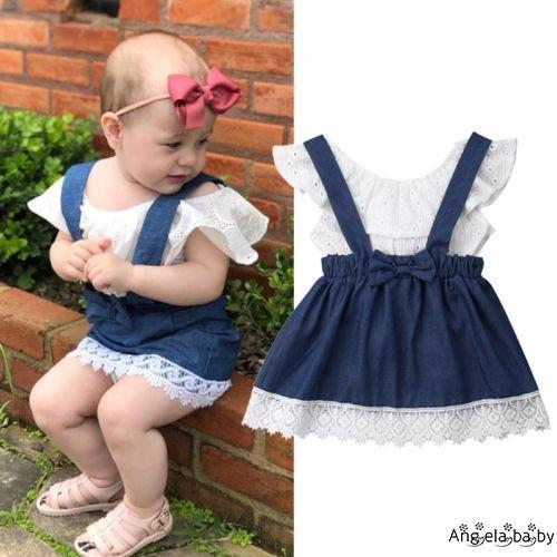 Set áo hở vai phối cổ bèo + chân váy jean phối dây đeo vai dễ thương cho bé gái