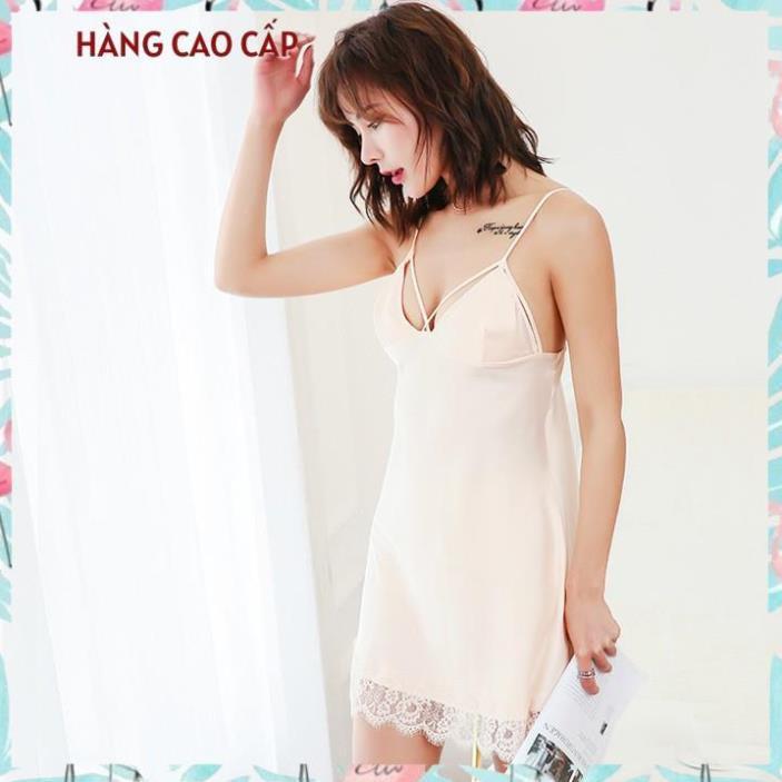 Váy ngủ sexy hai dây phối ren đầm ngủ kiểu dây đan chéo bầu ngực gợi cảm (màu vàng mơ) Thư Thư [HÀNG CAO CẤP]