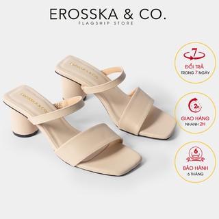Giày sandal cao gót Erosska mũi vuông dây bảng phối gót tròn cao 5m màu kem _ EB026