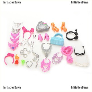 InitiationDawn Doll Accessories Bags Necklace Combs Shoes Earings for Barbie Doll Kids Gift