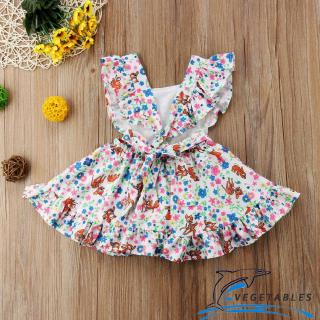 VD ❀Sweet Baby Kids Girl Casual Floral Dress Newborn Toddler Wedding Party Sundress