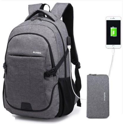 Set Balo + Ví có dây cáp sạc điện thoại 1 (hàng order)