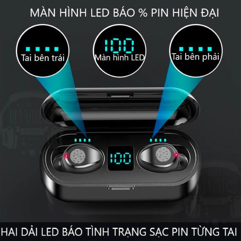 Tai nghe không dây bluetooth true wireless AMOI F9 kiêm sạc dự phòng 2000mAH âm thanh cực chất, bảo hành 3 tháng