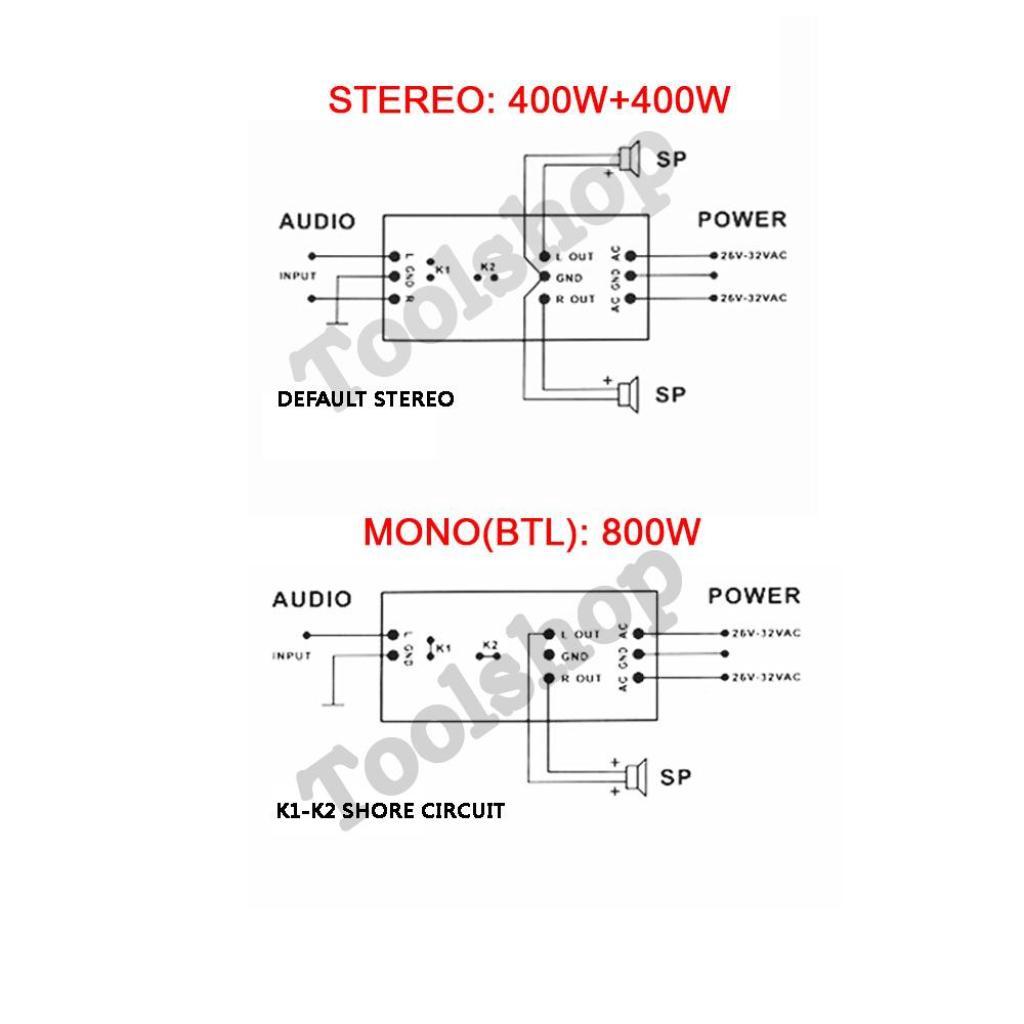 TV Security DX45M ชุดลง PCBวงจรขยายเสียง 400+400วัตต์ (STEREO)และ สามารถ บริดจ์แอมป์ เป็น 800วัตต์ BTL(MONO)ได้ ความเพี้