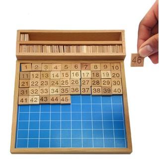 Giáo cụ Montessori bảng học đếm số 1 -100 kèm khay đựng