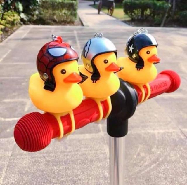 Vịt đội mũ bảo hiểm gắn xe