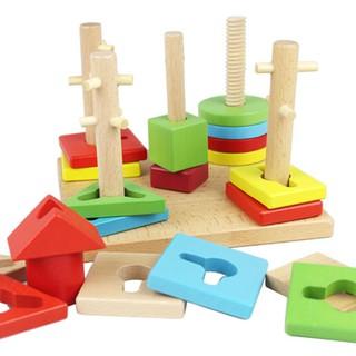 Trò chơi hình học 5 cột gỗ nhiều màu sắc