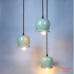 Đèn thả hoa chuông gốm, Đèn Gốm Sứ Bát Tràng trang trí nội thất, đèn phòng ngủ