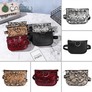 🌵CACTU🌵 High Quality Serpentine Fanny Pack Pu Leahter Snake Skin Waist Belt Waist Packs Chest Bag Waterproof Casual Wallet Storage Bag Belt Bags/Multicolor