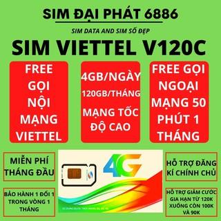 SIM VIETTEL 4G V120C DATA 60Gb/THÁNG – MIỄN PHÍ THÁNG ĐẦU – Free gọi nội mạng viettel – Free 50 phút ngoại mạng