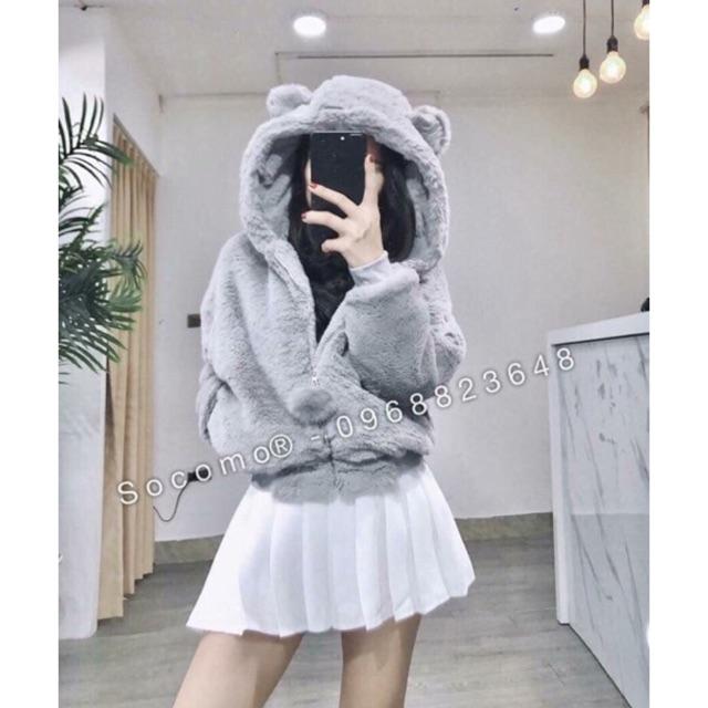 Áo khoác lông mũ tai gấu quảng châu loại 1