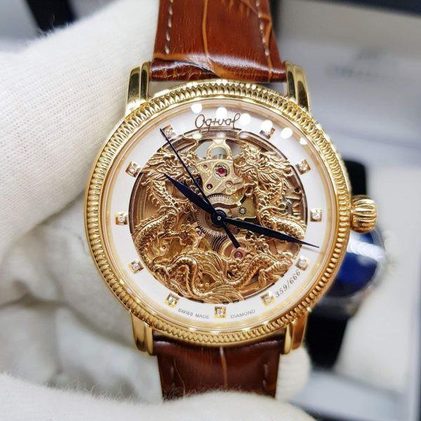 Đồng hồ Tuấn Hưng dòng cơ nam chính hãng Ogival OG358.652AGR-GL Song Long  Chầu Nguyệt giá cạnh tranh