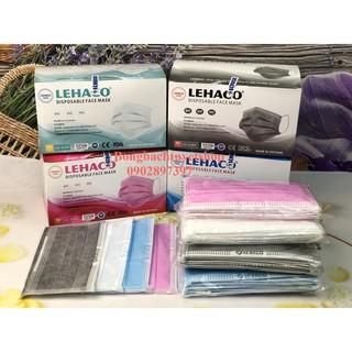 Khẩu trang Lehaco 4 lớp giấy kháng khuẩn màu Xanh Hồng Trắng Xám 50 cái hộp thumbnail