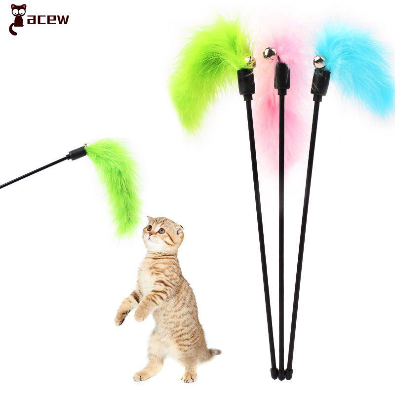 Teaser Rod Wand Toys Pet Cat Feather Toys Cat Stick Chaser Wand Random Color ❤acew