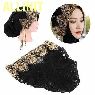 Mũ Trùm Đầu Phối Ren Hoa Phong Cách Hồi Giáo Cho Nữ