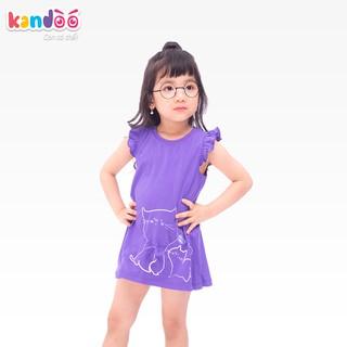 Áo T-shirt bé gái KANDOO màu tím đậm, thoải mái hoạt động, 100% cotton cao cấp mềm mịn, thoáng mát - DG16TS03
