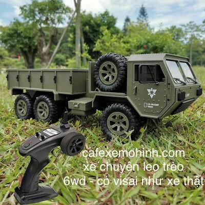 xe điều khiển bán tải quân sự 6wd chi tiết như xe thật size to 1/12 có đèn