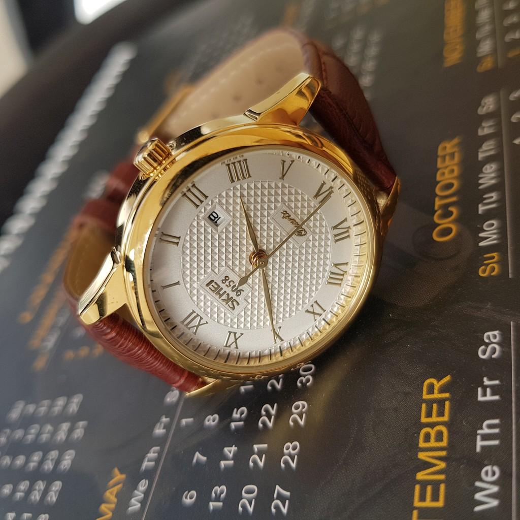 [Tặng vòng tay] Đồng hồ nam SKMEI SK9058.03G chính hãng dây da chống nước