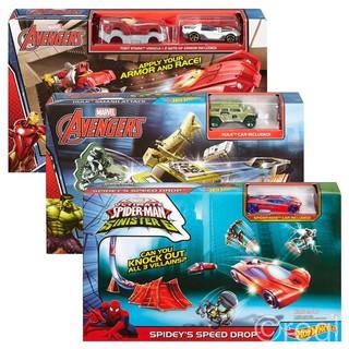 Bộ Xe Đường Đua Avengers Hot Wheels Mattel Marvels (1 bộ)