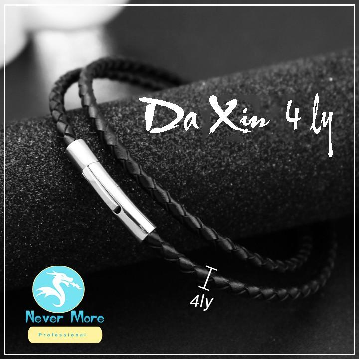 DÂY CHUYỀN ĐEN 5LY DA XỊN KHÓA INOX CAO CẤP bao đẹp vĩnh viễn không đen không gỉ