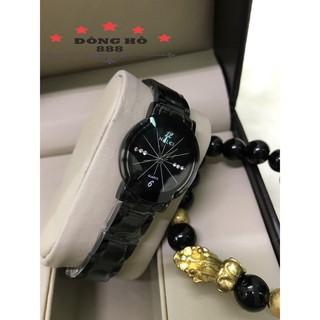 Đồng hồ nữ HALEI máy Nhật dây thép chống ghỉ chống bay màu mặt tròn màu đen size 26mm, kính chống xước chống nước HL457