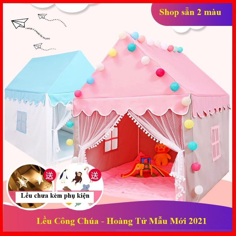 Lều Công Chúa Hoàng Tử cho bé trai bé gái cửa có rèm chống muỗi 2 màu xanh -hồng